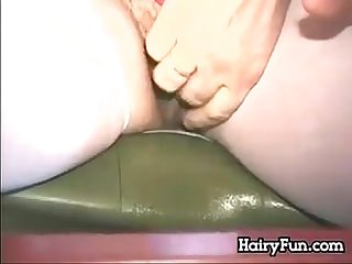 Hairy pussy pleasuring out in public