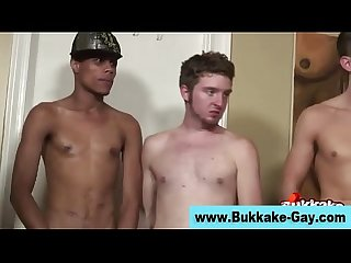 Gay bukkake dp fuck and cum facial