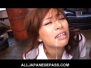 bound japanese babe in dress suit gags on cum