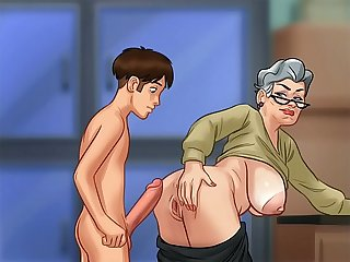 Fucking grandma in doggy style summer time saga
