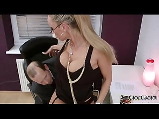German milf secretary fucking with her boss in the office 720p
