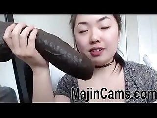 Asian cam gagging on bbc dildo majincams com