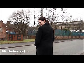 Fat amateur exhibitionist Alyss public nude and outdoor flashing of brunette bbw