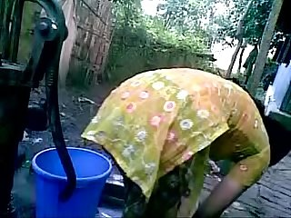 Bangladeshi village girl bath