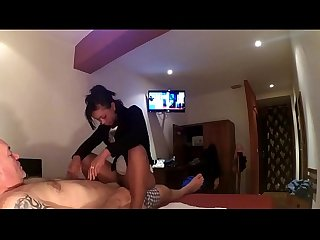 Ebony asian Mix gives massage and great blowjob in full hd