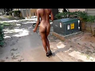 Hot black chick nude in public