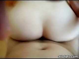 Asian babe sucks and gets pounded