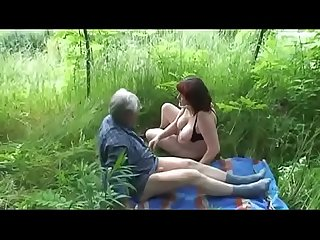 Old Mature couple fucks outdoor