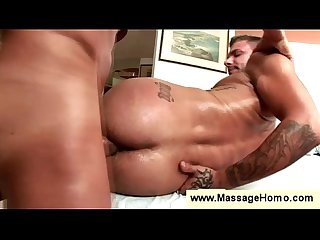 Hunk gets massaged while getting fucked