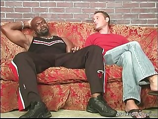 Horny white amateur talented guy goes black