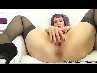 English milf Tigger plays with her big tits and pink fanny